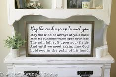 """LARGE Handmade Wood Sign - 12x24"""" - Framed - May the Road Rise Up to Meet You - Irish Blessing - Wedding Gift - Inspirational Quotes - Entryway Sign - Entryway Inspo - Home Blessing - Celtic Prayer - Entryway Gallery Wall Sign"""