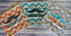Dream Big Little Man Chevron Pillow Covers 17 x 17