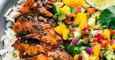 The best cilantro-lime chicken with a mango avocado salsa. Lime Chicken Recipes, Cilantro Lime Chicken, Pasta Recipes, Dinner Recipes, Cooking Recipes, Mango Avocado Salsa, Avocado Salad, Marinated Chicken, Grilled Chicken