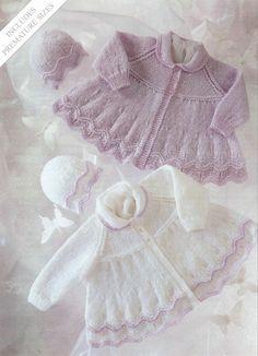 baby knit lace cardigan jacket bonnet
