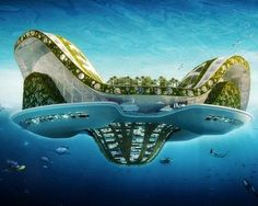 [][][] Lilypad ecopolis  Architect Vincent Callebaut designed Lilypads to be self-sufficient floating cities that can each accommodate up to 50,000 climate change refugees. Inspired by the shape of Victoria water lilies, these eco-cities would be made of polyester fibers and built around a central lagoon, and they would feature three mountains and marinas — dedicated to work, shopping and entertainment. Aquaculture farms and suspended gardens would be located below the water line, and the cities would run completely on renewable energy. Callebaut plans for his Lilypad concept to become a reality in 2100.