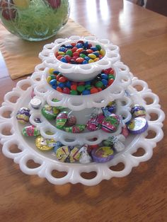 Lace edge milk glass ~ love this idea!! I have the two smaller sizes ... need to find the two larger ones!!