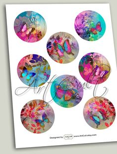 Printable Digital Collage Sheet MAGIC TOUCH inch size circle images for Pocket Mirrors cupcake toppers Magnets Paper Weights by ArtCult Craft Show Ideas, Butterfly Art, Butterflies, Mini Paintings, Collage Sheet, Digital Collage, Decoupage, Cupcake Toppers, Ideas