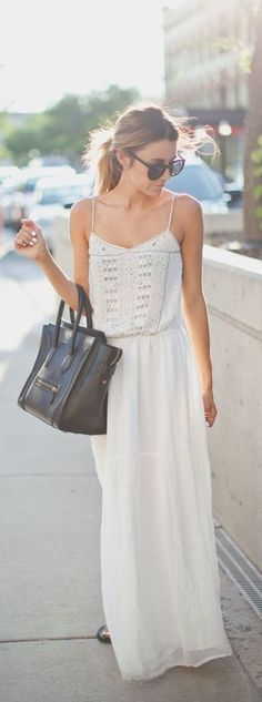 street style / summer white maxi dress
