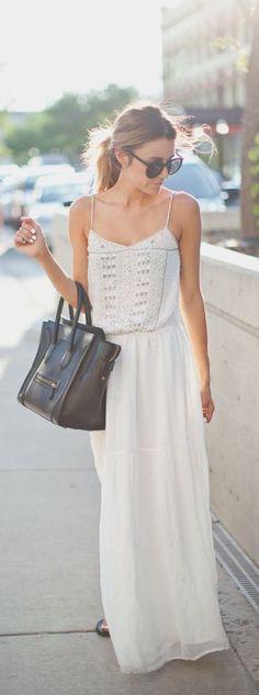 street style / summer white maxi dress