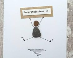 Congratulations card, Pebble Art, Stone art, cute pebble people, Stick man, quirky card unusual congratulations card funny card