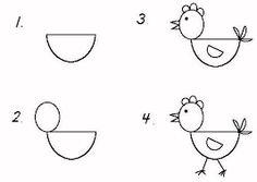 Afbeeldingsresultaat voor stappenplan kip tekenen