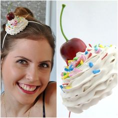 Cupcake Headband ,Cupcake Headpiece ,Whipped Cream Headband, Great Prop For Ice Cream Cone Halloween costume ,cupcake costume Cosplay