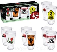 ZOMBIE PINT GLASS SET  Watch out, the zombie horde is coming! Our horrific Zombie Pint Glass Set features warning signs that might help keep you a step ahead of the impending invasion. Plan 9 has been put into action, run for your life! Always remember to double tap… but you already knew that because you're reading this now.