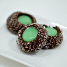 Chocolate mint thumbprints More