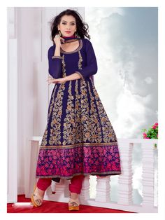USD 92.58 Blue A Line Embroidered Long Anarkali Suit   38686