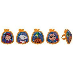 Peanuts Snoopy and Friends Halloween Cupcake Topper Rings- 24 ct ** New and awesome product awaits you, Read it now : : baking decorations