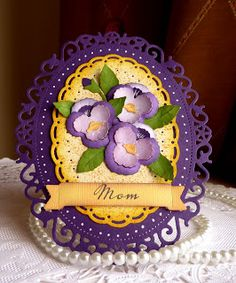 handmade Mother's Day card ... almost all die cutting ... sweet pansies from CottageCutz dies ... layers and oval frame ... delightfult!!