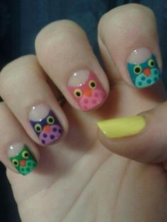 Owl nails?! Must have! <3 Owl Nail Art, Owl Nails, Coffin Nails, Owl Nail Designs, Mani Pedi, Manicure, Spirit Finger, Crafts For Girls, Nail Stamping