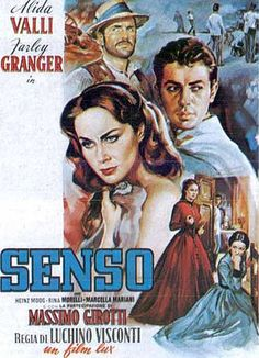 "Lucchino Visconti's ""Senso"" (1954) starring Alida Valli and Farley Granger. The story is set in Italy in Spring of 1866 during the last month of Austrian occupation. The first third is set in Venice, the rest in Aldeno and Verona. The film opens in the La Fenice opera house with a performance of Il Trovatore. By the help of this opening scene La Fenice was rebuilt in 19th-century style after (for the second time in its history) it was completely destroyed by fire in 1996."