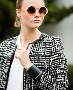 black and white - looks like the H&M jacket I just bought - like the black cuff and simple white shirt underneath
