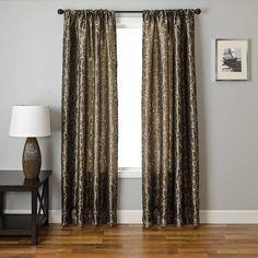 Softline Home Fashions Drapery Colma Scroll Panel Elegant Jacquard Design On Linen Blend For