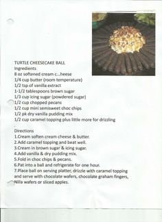Turtle Cheesecake Ball recipe