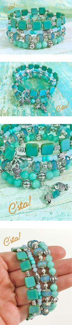 Aqua Blue Memory Wire Bracelet With Free Earrings