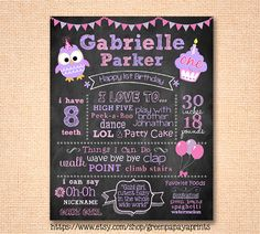 This girls owl chalkboard style printable file can be used as a sign for your daughters birthday party. This printable chalkboard sign is