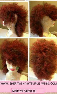 """Mohawk Afro hair piece. Handmade with clips. 10"""" color #4/350. Contact me for custom work www.sheritashairtemple.webs.com"""