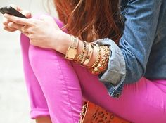 Hot Pink skinny jeans, denim shirt, gold accessories