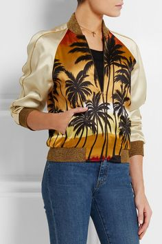 Multicolored satin, gold ribbed-knit  Zip fastening through front 100% viscose; trim: 58% viscose, 23% polyester, 17% polyamide, 2% elastane; lining: 50% acetate, 50% cupro Dry clean Made in Italy