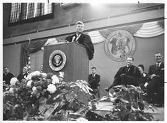 1963. 25 Septembre. Grand Forks, North Dakota. John F. Kennedy University of North Dakota