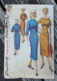 Simplicity 1773 1950s 50s Cocktail Wiggle by EleanorMeriwether