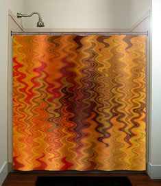 fire tapestry flame orange brown chevron shower curtain bathroom decor