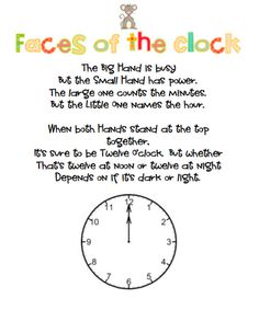 Rowdy in First Grade: Clock Poem