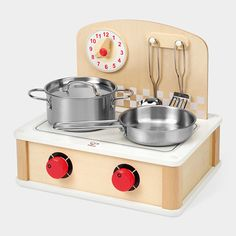 Mini Stovetop Play Set: This is so adorable and so not plastic! Wish I was a kid again.
