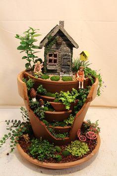 Broken Terracotta Miniature Fairy Garden. Broken pot.                                                                                                                                                      More