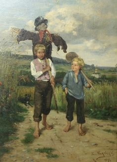 "VLADIMIR MAKOVSKY (RUSSIAN 1846-1920), ""Two Young Boys in a Field with Scarecrow"", 1904"