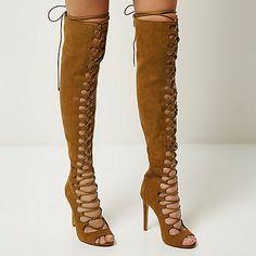 Braune Overknee-Stiefel zum Schnüren - Kniehohe Stiefel - Schuhe/Stiefel - Damen