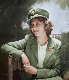 Queen Elizabeth II [Princess] wearing her WWII uniform for Life magazine photo shoot (1943). She was 16 years old.