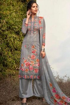 #Pakistani Dresses Online #UK - #Grey Georgette #Palazzo Suits at #Shopkund Sharara Suit, Churidar Suits, Georgette Fabric, Chiffon Fabric, Dress Meaning, Pakistani Dresses Online, Palazzo Suit, Silk Brocade, Types Of Dresses