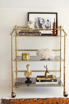 Design Manifest Vintage gilded bamboo Bar Cart