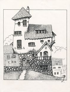 Beagle House by Sirinkman - Ink on 7.5 x 10 inch Moleskin sketchbook This is Beagle House. Beagle House sits near the city of Fog Bottom by the Sea. Many of Luthien Crabnuckel's relatives are from the Fog Bottom area in Olde Shirain near the Old Fog mountains.