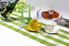 green and white lattice ribbed Table runner with stripes(table mat) US $2.32