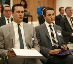 Don Draper (Jon Hamm) and Pete Campbell (Vincent Kartheiser) in Season 2, Episode 11 - The Jet Set - Photo by Carin Baer.