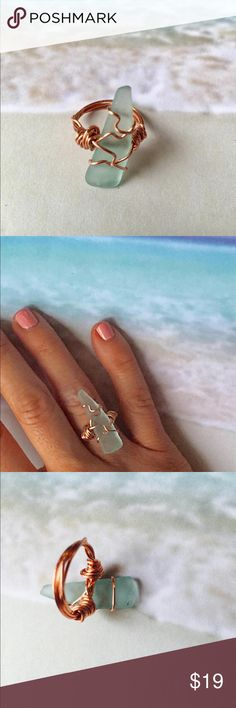 Sea Glass Ring -Handmade -REAL SURF TUMBLED Size 6 HANDMADE SEA GLASS RING  For Years My Husband and I have been visiting Puerto Rico and While he Surfs, I have made Sea Glass an awesome and fun Hobby of mine! :)   Really Surf Tumbled Sea Glass Found On the Beaches of Puerto Rico  used with copper wire  Sea Glass Piece is 1.25 inch X 0.25 inch  Size 6  Sea Foam Blue Sea Glass  Handmade by Me 🏝   Brand new! n/a Jewelry Rings