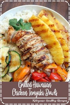 Grilled Hawaiian Chicken Teriyaki Bowls is part of Chicken recipes - Grilled Hawaiian Chicken Teriyaki Bowls with coconut rice, zucchini squash, bell peppers, onions, and pineapple topped with a delicious easy homemade teriyaki sauce! Teriyaki Bowl, Teriyaki Sauce, Soy Sauce, Teriyaki Chicken Bowl Recipe, Chicken Rice Bowls, Pineapple Chicken Teriyaki, Terriyaki Chicken Bowl, Delish Chicken Recipes, Veggie Bowl Recipe