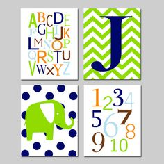 Baby Boy Nursery Art - Chevron Initial, Alphabet, Numbers, Polka Dot Elephant - Set of Four 8x10 Prints - Choose Your Colors on Etsy, $65.00