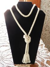 """Lovely Cream Vintage Crocheted Lariat Necklace   56"""" long"""