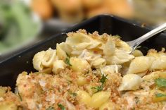 These Chicken & Shells feature a warm and luxurious tasting dish featuring a mild gorgonzola cream and broth sauce, crowned with fresh and savory topping.