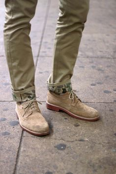 Is camo too out there for you? How about subtle camo details? Sharp Dressed Man, Well Dressed, Men's Shoes, Shoe Boots, Suede Shoes, Guy Shoes, Dress Shoes, Olive Pants, Olive Chinos