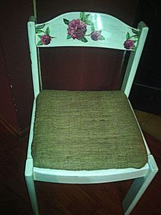 """this old chair got new """"old"""" look #decoupage"""