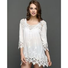 White Cut-out Lace Crochet Beach Cover Up ($29) ❤ liked on Polyvore featuring swimwear, cover-ups, swim cover up, white beach cover up, cut-out swimwear, white cover up and white lace cover up