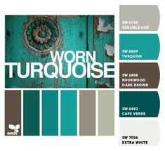 Worn Turquoise by Design Seeds, with color codes---color scheme for dining room- except through some red accents in there